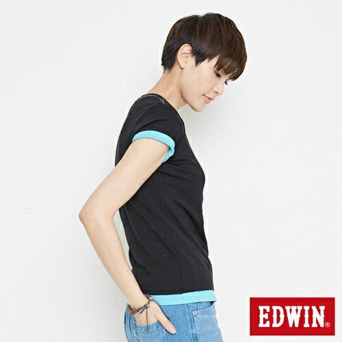 【網路限定款。9折優惠↘】EDWIN 條紋W LOGO 短袖T恤-女款 黑色 2