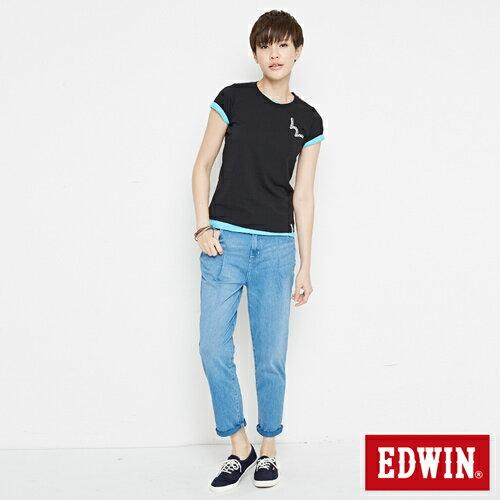 【網路限定款。9折優惠↘】EDWIN 條紋W LOGO 短袖T恤-女款 黑色 3