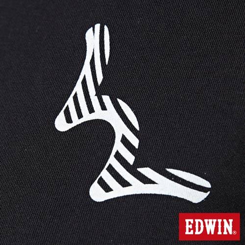【網路限定款。9折優惠↘】EDWIN 條紋W LOGO 短袖T恤-女款 黑色 4