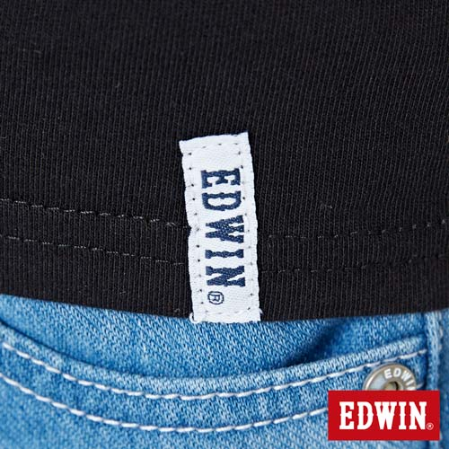 【網路限定款。9折優惠↘】EDWIN 條紋W LOGO 短袖T恤-女款 黑色 5