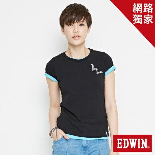 【網路限定款。9折優惠↘】EDWIN 條紋W LOGO 短袖T恤-女款 黑色 0
