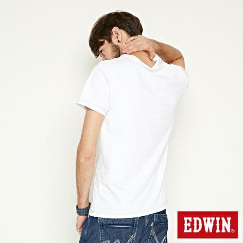 【網路限定款。9折優惠↘】EDWIN 延伸方框LOGO 短袖T恤-男款 白色【單筆2000結帳輸入優惠券代碼161021-5。現折240元】 1