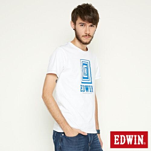 【網路限定款。9折優惠↘】EDWIN 延伸方框LOGO 短袖T恤-男款 白色【單筆2000結帳輸入優惠券代碼161021-5。現折240元】 2