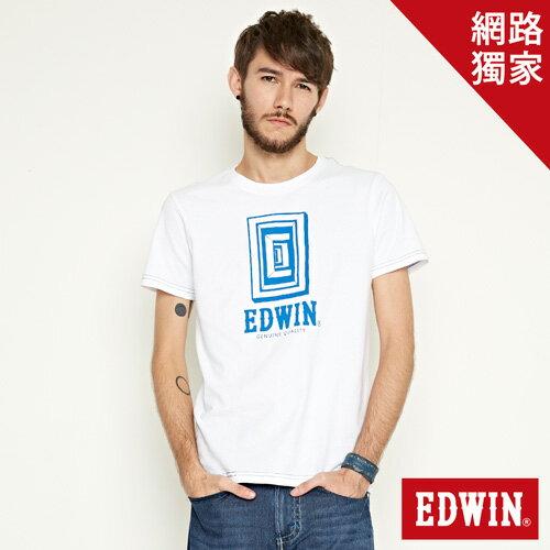 【網路限定款。9折優惠↘】EDWIN 延伸方框LOGO 短袖T恤-男款 白色【單筆2000結帳輸入優惠券代碼161021-5。現折240元】 0