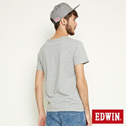 【網路限定款。9折優惠↘】EDWIN 延伸方框LOGO 短袖T恤-男款 麻灰色 1