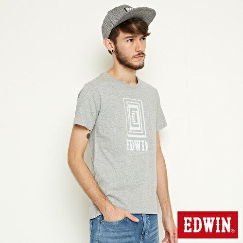 【網路限定款。9折優惠↘】EDWIN 延伸方框LOGO 短袖T恤-男款 麻灰色 2