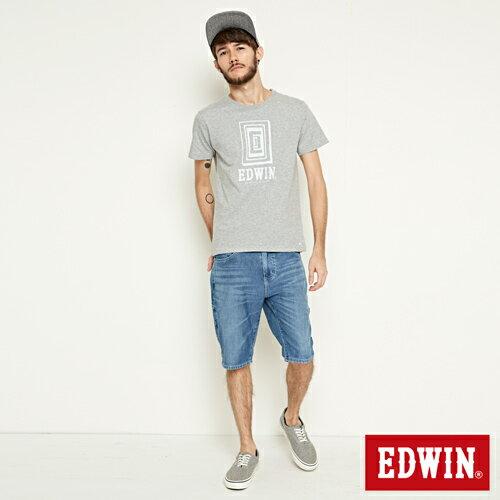 【網路限定款。9折優惠↘】EDWIN 延伸方框LOGO 短袖T恤-男款 麻灰色 3