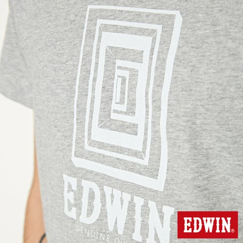 【網路限定款。9折優惠↘】EDWIN 延伸方框LOGO 短袖T恤-男款 麻灰色 4