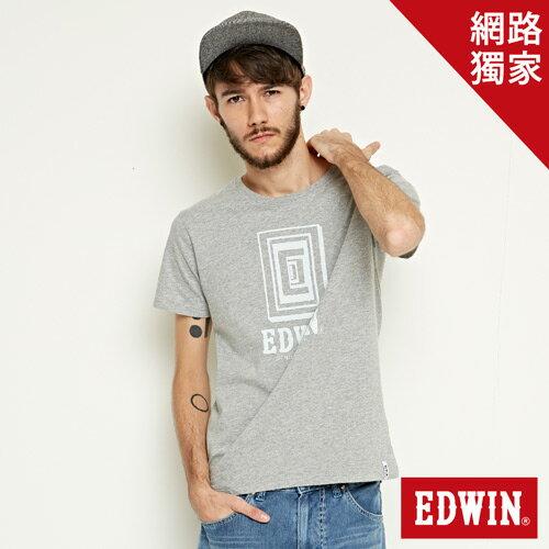 【網路限定款。9折優惠↘】EDWIN 延伸方框LOGO 短袖T恤-男款 麻灰色 0