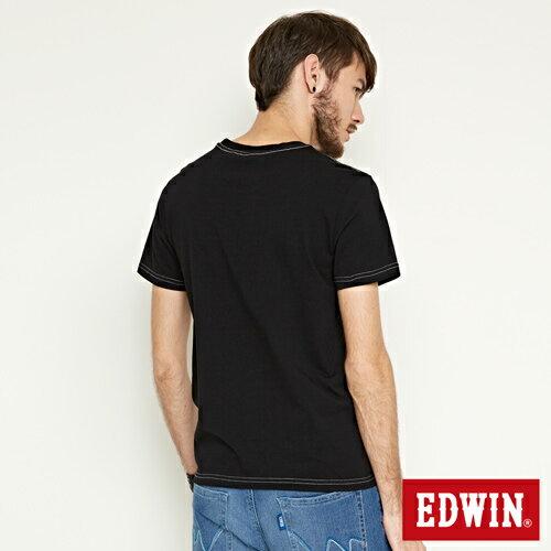【網路限定款。9折優惠↘】EDWIN 延伸方框LOGO 短袖T恤-男款 黑色【單筆2000結帳輸入優惠券代碼161021-3。現折240元】 1