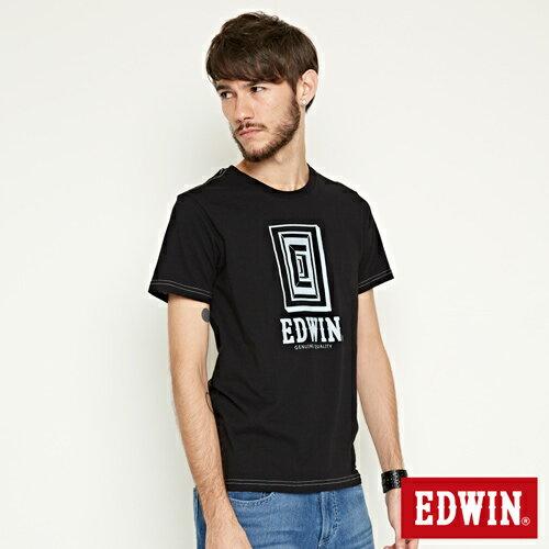 【網路限定款。9折優惠↘】EDWIN 延伸方框LOGO 短袖T恤-男款 黑色【單筆2000結帳輸入優惠券代碼161021-3。現折240元】 2