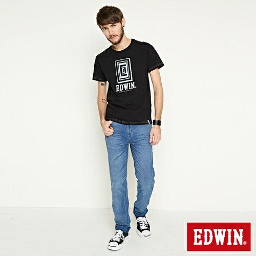 【網路限定款。9折優惠↘】EDWIN 延伸方框LOGO 短袖T恤-男款 黑色 3