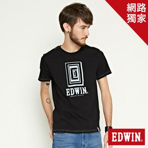 【網路限定款。9折優惠↘】EDWIN 延伸方框LOGO 短袖T恤-男款 黑色【單筆2000結帳輸入優惠券代碼161021-3。現折240元】 0