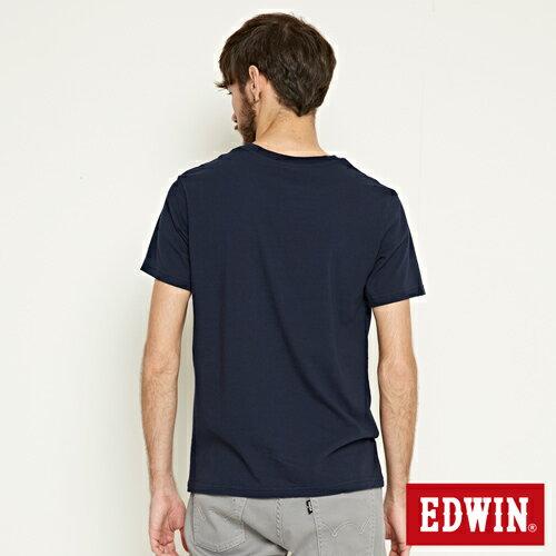 【網路限定款。9折優惠↘】EDWIN 3D裸視E字 短袖T恤-男款 丈青色 1