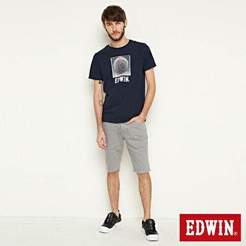 【網路限定款。9折優惠↘】EDWIN 3D裸視E字 短袖T恤-男款 丈青色 3