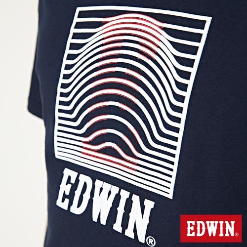 【網路限定款。9折優惠↘】EDWIN 3D裸視E字 短袖T恤-男款 丈青色 4