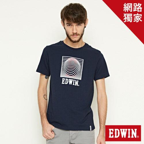 【網路限定款。9折優惠↘】EDWIN 3D裸視E字 短袖T恤-男款 丈青色 0