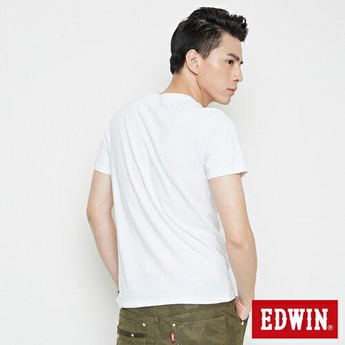 【網路限定款。9折優惠↘】EDWIN 3D裸視E字 短袖T恤-男款 白色【單筆2000結帳輸入優惠券代碼161021-5。現折240元】 1