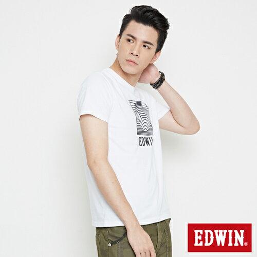 【網路限定款。9折優惠↘】EDWIN 3D裸視E字 短袖T恤-男款 白色【單筆2000結帳輸入優惠券代碼161021-5。現折240元】 2