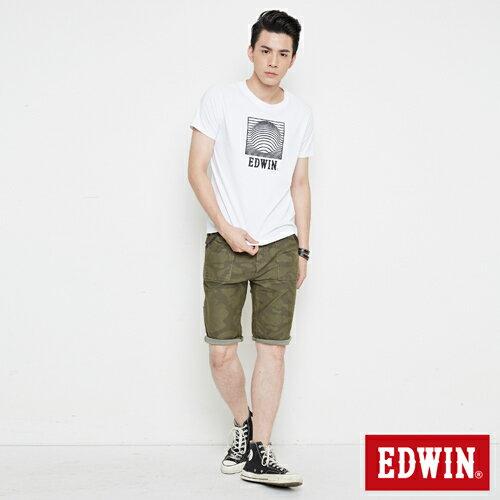【網路限定款。9折優惠↘】EDWIN 3D裸視E字 短袖T恤-男款 白色【單筆2000結帳輸入優惠券代碼161021-5。現折240元】 3