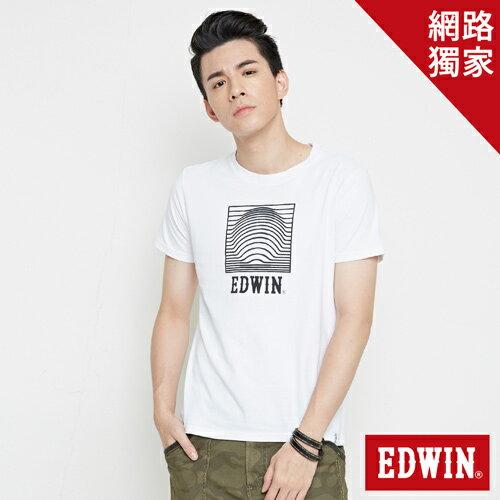 【網路限定款。9折優惠↘】EDWIN 3D裸視E字 短袖T恤-男款 白色【單筆2000結帳輸入優惠券代碼161021-5。現折240元】 0