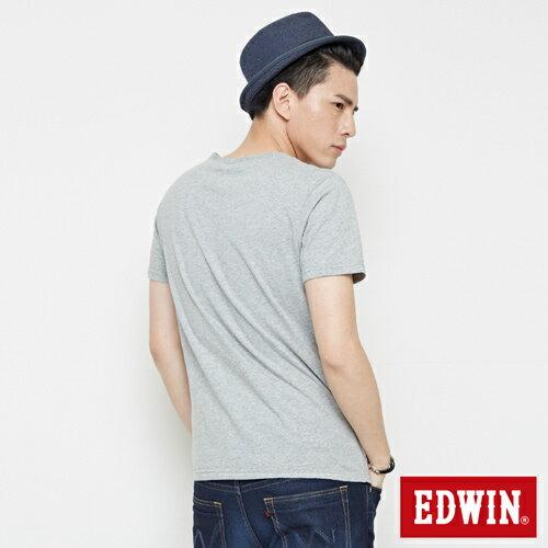【網路限定款。9折優惠↘】EDWIN 3D裸視E字 短袖T恤-男款 麻灰色 1
