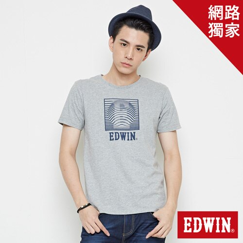 【網路限定款。9折優惠↘】EDWIN 3D裸視E字 短袖T恤-男款 麻灰色 0