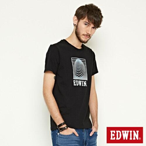 【網路限定款。9折優惠↘】EDWIN 3D裸視E字 短袖T恤-男款 黑色【單筆2000結帳輸入優惠券代碼161028。現折240元】 2