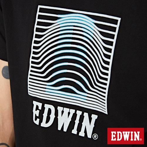 【網路限定款。9折優惠↘】EDWIN 3D裸視E字 短袖T恤-男款 黑色【單筆2000結帳輸入優惠券代碼161028。現折240元】 4
