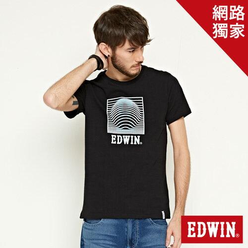 【網路限定款。9折優惠↘】EDWIN 3D裸視E字 短袖T恤-男款 黑色【單筆2000結帳輸入優惠券代碼161028。現折240元】 0