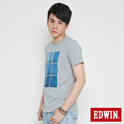 【網路限定款。9折優惠↘】EDWIN 九宮格疊影 短袖T恤-男款 麻灰色 2