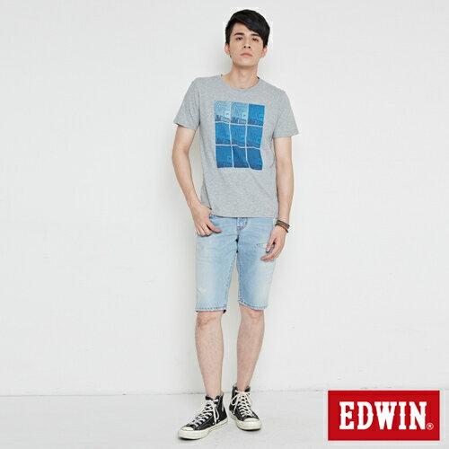 【網路限定款。9折優惠↘】EDWIN 九宮格疊影 短袖T恤-男款 麻灰色 3