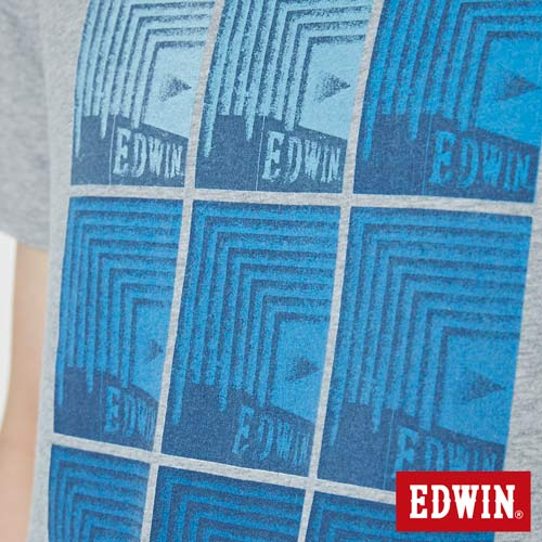 【網路限定款。9折優惠↘】EDWIN 九宮格疊影 短袖T恤-男款 麻灰色 4