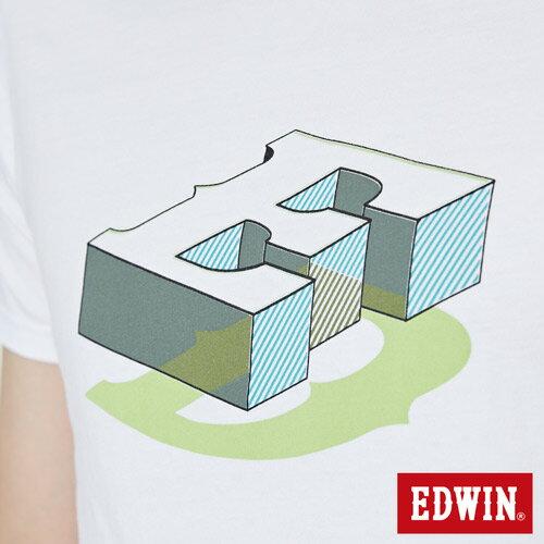 【網路限定款。9折優惠↘】EDWIN 限定配色立方ED 短袖T恤-男款 白色 4