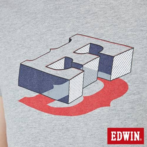 【網路限定款。9折優惠↘】EDWIN 限定配色立方ED 短袖T恤-男款 麻灰色【單筆2000結帳輸入優惠券代碼161021-3。現折240元】 4