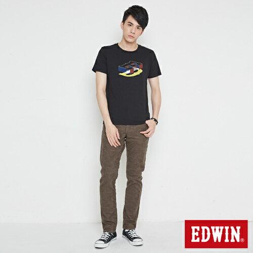 【網路限定款。9折優惠↘】EDWIN 限定配色立方ED 短袖T恤-男款 黑色【單筆2000結帳輸入優惠券代碼161021-3。現折240元】 3