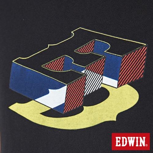 【網路限定款。9折優惠↘】EDWIN 限定配色立方ED 短袖T恤-男款 黑色【單筆2000結帳輸入優惠券代碼161021-3。現折240元】 4