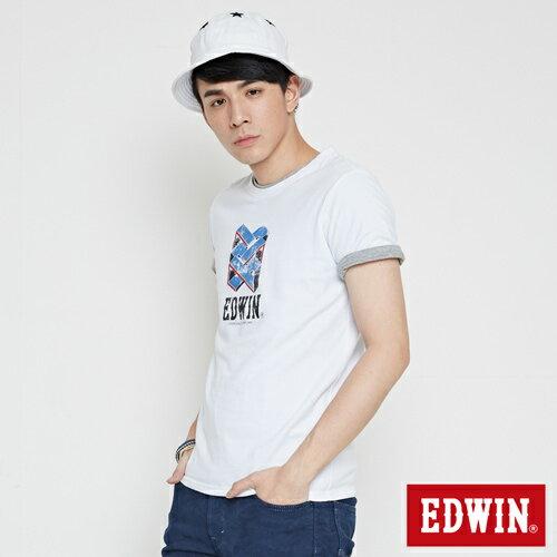 【網路限定款。9折優惠↘】EDWIN 立體錯位圖形 短袖T恤-男款 白色【單筆2000結帳輸入優惠券代碼161021-4。現折240元】 2