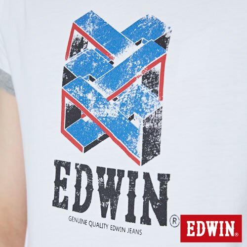 【網路限定款。9折優惠↘】EDWIN 立體錯位圖形 短袖T恤-男款 白色 4