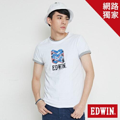 【網路限定款。9折優惠↘】EDWIN 立體錯位圖形 短袖T恤-男款 白色【單筆2000結帳輸入優惠券代碼161021-4。現折240元】 0