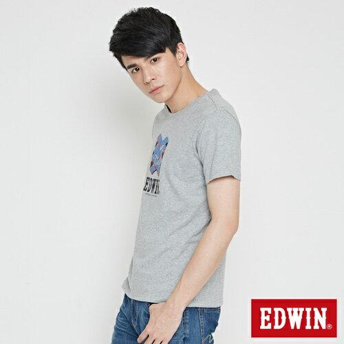 【網路限定款。9折優惠↘】EDWIN 立體錯位圖形 短袖T恤-男款 麻灰色【單筆899結帳輸入優惠券代碼ShoppingFestival-2。現折100元】 2