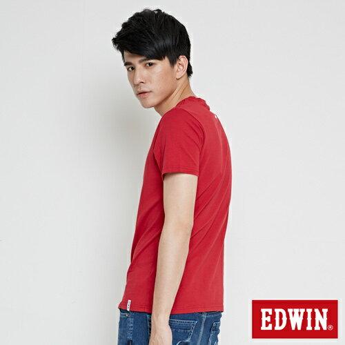 【網路限定款。9折優惠↘】EDWIN 翻玩經典雙LOGO 短袖T恤-男款 紅色【單筆2000結帳輸入優惠券代碼161028。現折240元】 2