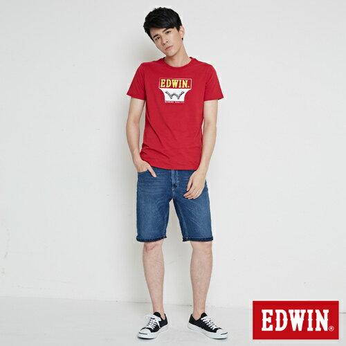 【網路限定款。9折優惠↘】EDWIN 翻玩經典雙LOGO 短袖T恤-男款 紅色【單筆2000結帳輸入優惠券代碼161028。現折240元】 3
