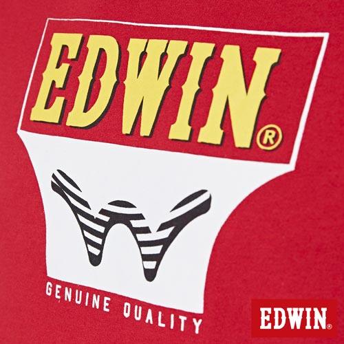 【網路限定款。9折優惠↘】EDWIN 翻玩經典雙LOGO 短袖T恤-男款 紅色【單筆2000結帳輸入優惠券代碼161028。現折240元】 4