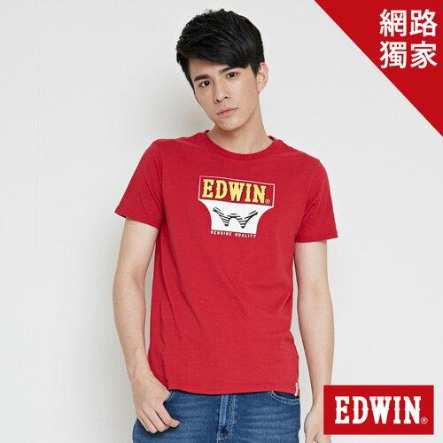 【網路限定款。9折優惠↘】EDWIN 翻玩經典雙LOGO 短袖T恤-男款 紅色【單筆2000結帳輸入優惠券代碼161028。現折240元】 0