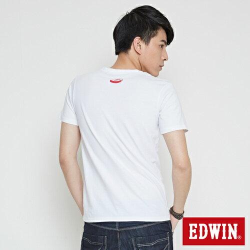 【網路限定款。9折優惠↘】EDWIN 翻玩經典雙LOGO 短袖T恤-男款 白色【單筆2000結帳輸入優惠券代碼161027。現折240元】 1