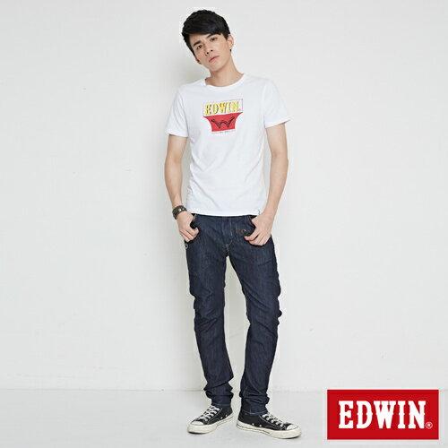 【網路限定款。9折優惠↘】EDWIN 翻玩經典雙LOGO 短袖T恤-男款 白色【單筆2000結帳輸入優惠券代碼161027。現折240元】 3