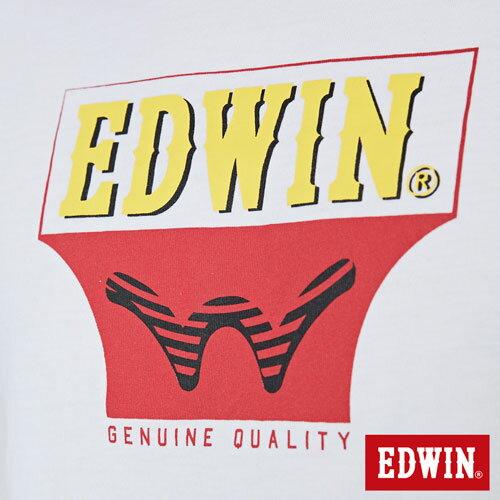 【網路限定款。9折優惠↘】EDWIN 翻玩經典雙LOGO 短袖T恤-男款 白色【單筆2000結帳輸入優惠券代碼161027。現折240元】 4