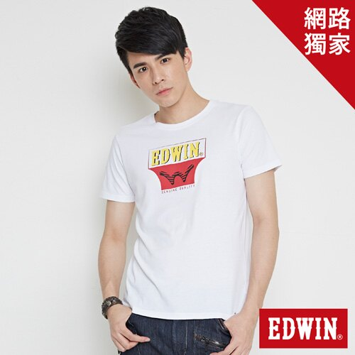 【網路限定款。9折優惠↘】EDWIN 翻玩經典雙LOGO 短袖T恤-男款 白色【單筆2000結帳輸入優惠券代碼161027。現折240元】 0