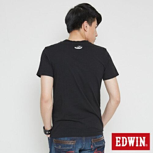 【網路限定款。9折優惠↘】EDWIN 翻玩經典雙LOGO 短袖T恤-男款 黑色【單筆899結帳輸入優惠券代碼ShoppingFestival-2。現折100元】 1